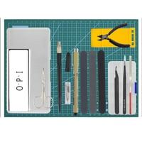 UTOYSLAND Hot 18Pcs Gundam Model Tools Kit Modeler Basic Tools Craft Set Hobby Building Tools Kit DIY Accessories Cutting Mat