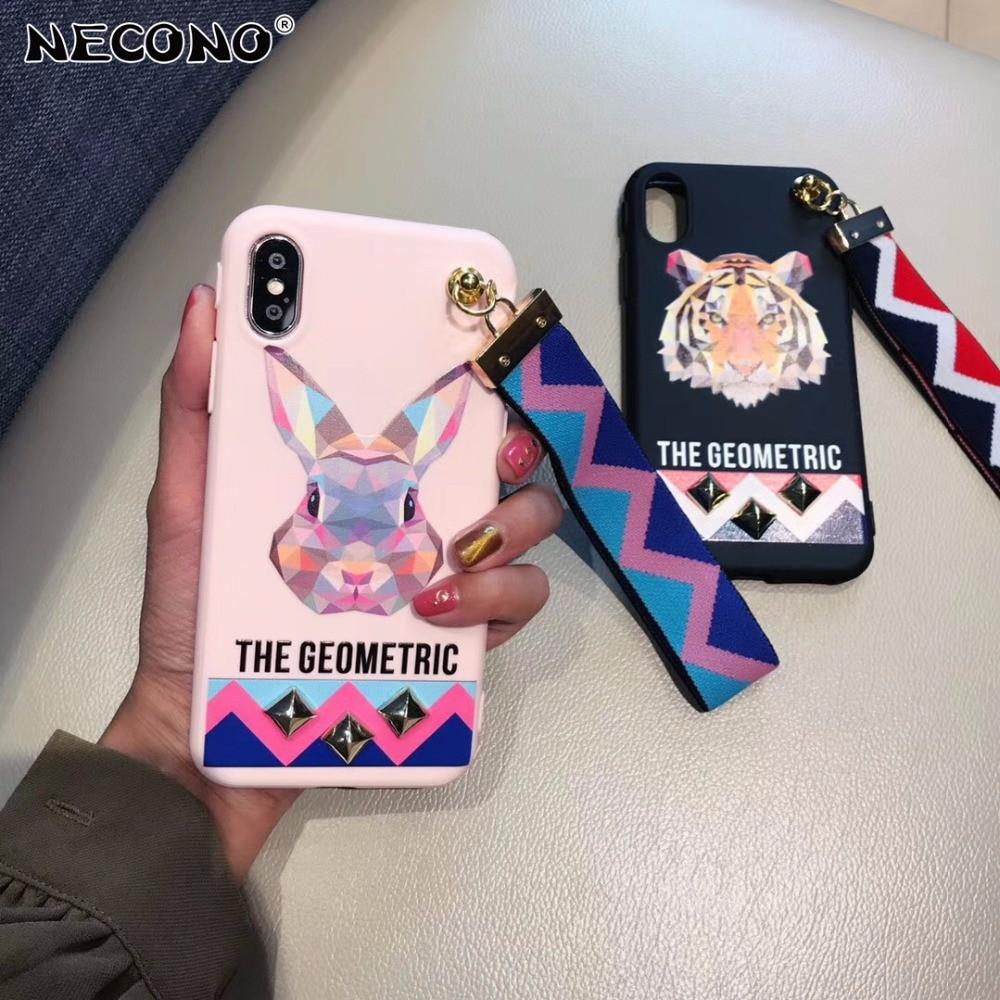 Galleria fotografica NECONO Fashion Soft Cartoon Tiger Rabbit Studded Rivet Cover Case For iphone X 8 7 Plus 6 6s Plus Wrist Strap Phone Case Capa