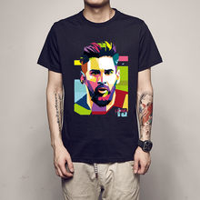 100% Cotton Tshirt 2018 Hip Hop Lionel Messi Shirts Barcelona Men's Short Sleeve Messi Tops Argentina Jersey For Fans Tee Shirt(China)