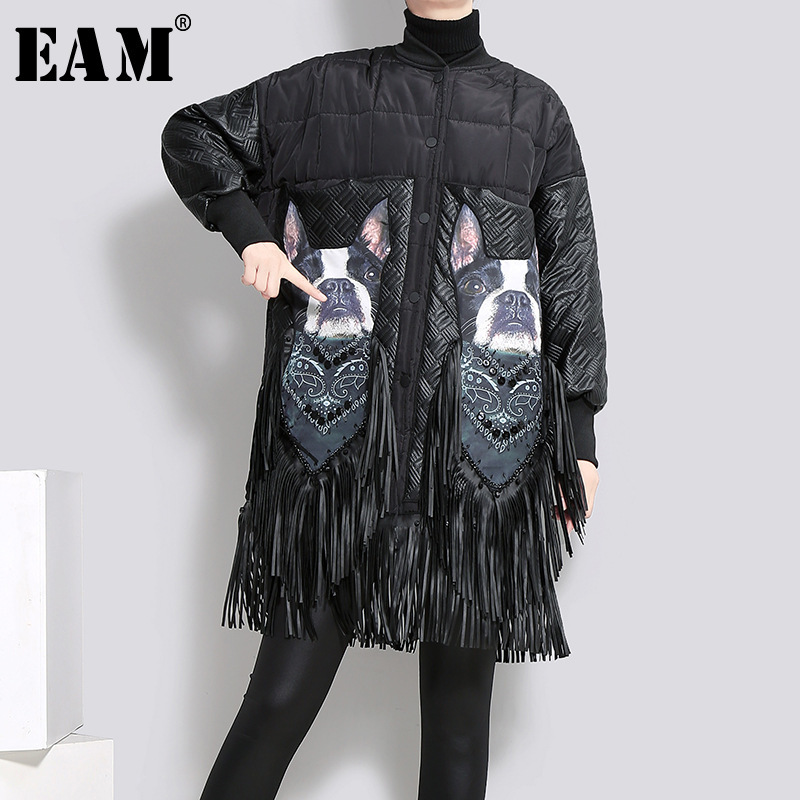 [EAM]2019 New Spring Stand Collar Pattern Printed Tassels Stitch Large Size Cotton-padded Coat Women   Parkas   Fashion JK283