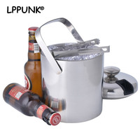Bpa free 1.3L double wall champagne keg double wall food grade stainless steel beer ice bucket with ice tong ice strainer SET
