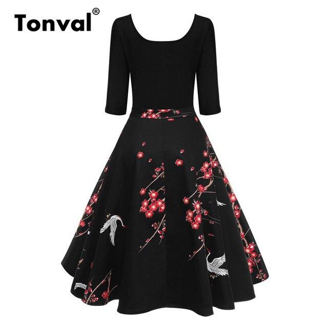Tonval Vintage Crane Print Black Dress O Neck Patchwork Women Retro Floral  Elegant Plum Blossoms Casual Dresses fbfd73514fd4