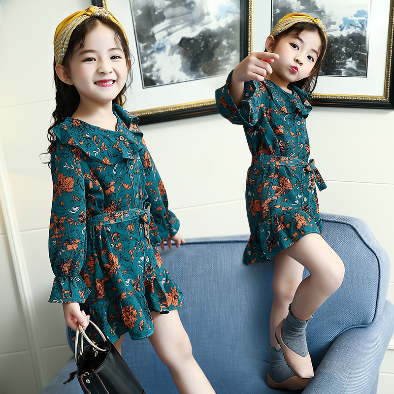 2018 Autumn Long Sleeve Cotton Loose Big Girls Clothes Teen School Floral Print Style Dress A Line Casual Dresses 10 11 12 13 14