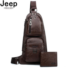 JEEP BULUO Men Leather Shoulder Chest Bag Suspenders Fashion Leisure Sling Bag For College Students Mens Bag Cross Body New Hot