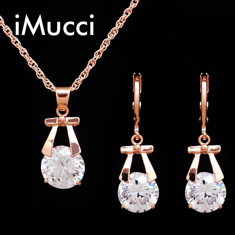 iMucci Fashinal Girl Sweet Bowknot Jewelry Sets Cute Crystal Party Necklace and Earrings Women Rhinestone Jewellery Set Gift