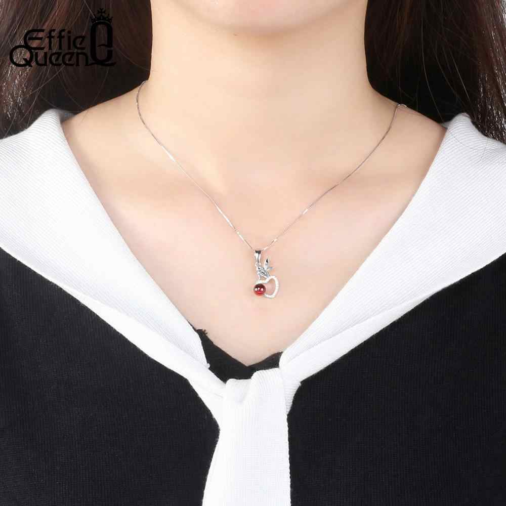 Effie Queen 925 Sterling Silver Women Pendant Necklace Garnet Natural Stone AAA CZ Fairy Heart Pendant Box Chain Jewelry BN105