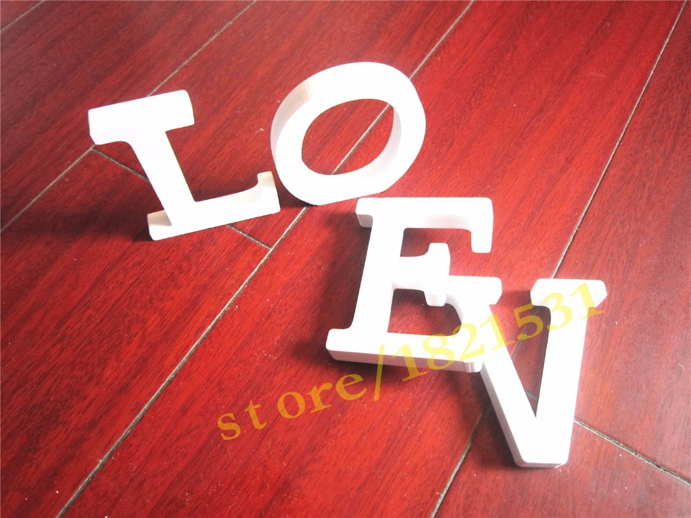 12cm Free Standing Artificial Wood Wooden White Letters Alphabet