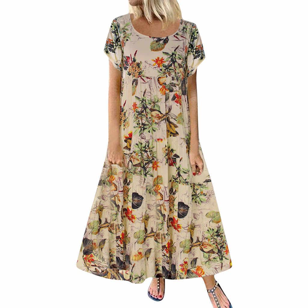 Zomer Nieuwe Mode Vrouwen Plus Size Casual Korte Mouw Boho Retro Linnen Print Lange Maxi Jurk Groothandel Gratis Schip платье z4