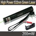 Caneta Laser 301 Caneta Verde 532nm 200 mW Green Laser Pointer Pen zoomable Queima Jogos Lazers + 18650 Bateria 3000 mah + carregador