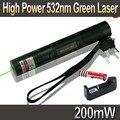 Pluma del laser 301 Verde 532nm 200 mW Lápiz Puntero Láser Verde con zoom Burning Partidos Lazers + 18650 Batería 3000 mah + cargador