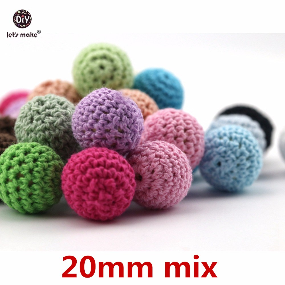 Let's Make Baby Teether Crochet Beads 60pc Wooden Teether Infant Car Hanging Baby Stroller Accessories Pacifier Clip Timber