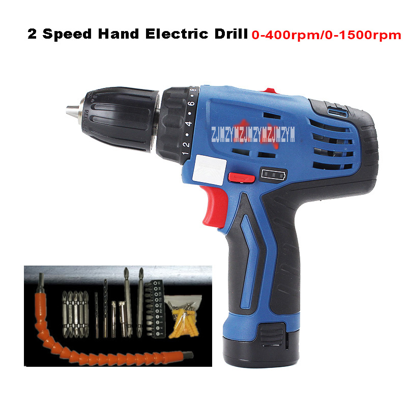 DCJZ10-10B 12V Cordless Drill 2 speed Rechargeable Lithium Battery Multi-function Electric Screwdriver Hand Drill Power Tools wosai 20v cordless electric hand drill lithium battery electric drill cordless 2 speed drill electric screwdriver power tools