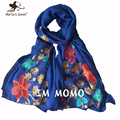 Mori Girl Floral Scarf and Wrap for Women Oversized Flower Embroidered Scarves and Shawls Japanese Ethnic Style Long Foulard