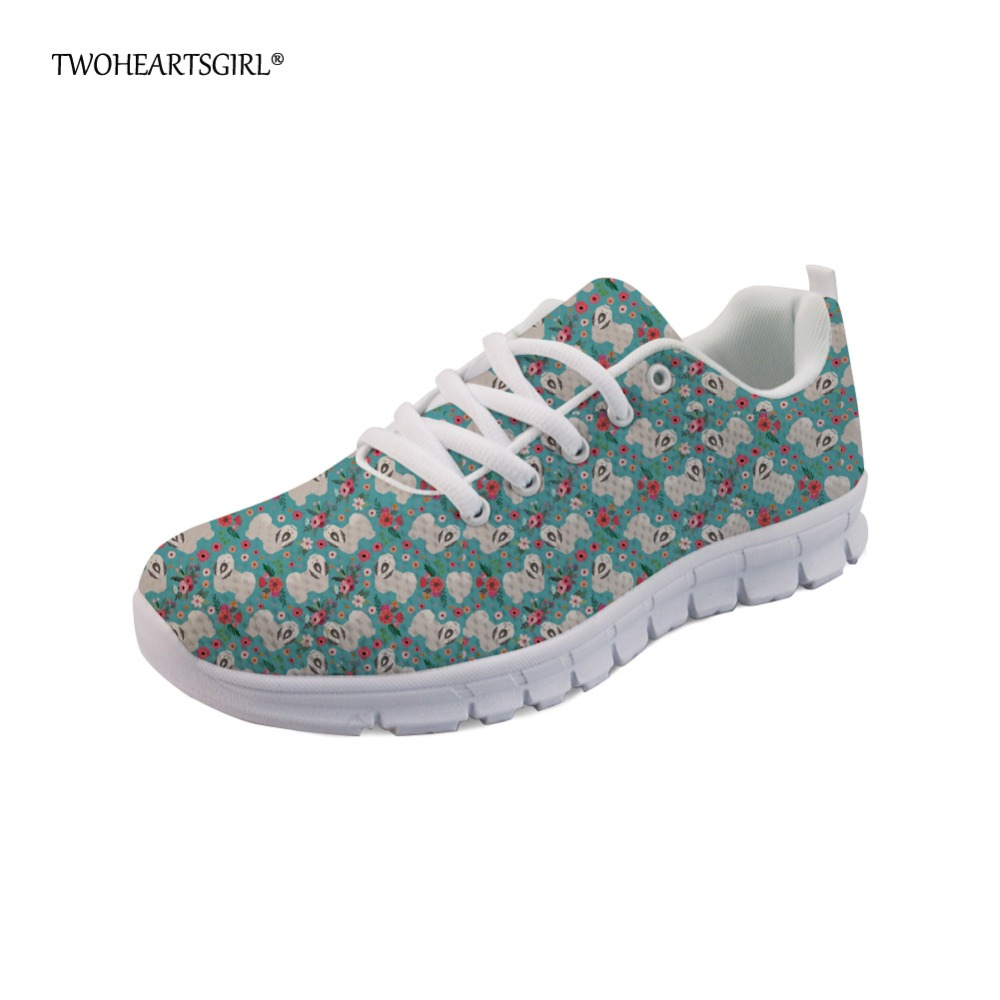 Twoheartsgirl Fashion Havanese Flower Dog Sneakers for Women Casual Ladies Flats Walking Shoes Leightweight Lace Up Mesh Shoes glowing sneakers usb charging shoes lights up colorful led kids luminous sneakers glowing sneakers black led shoes for boys