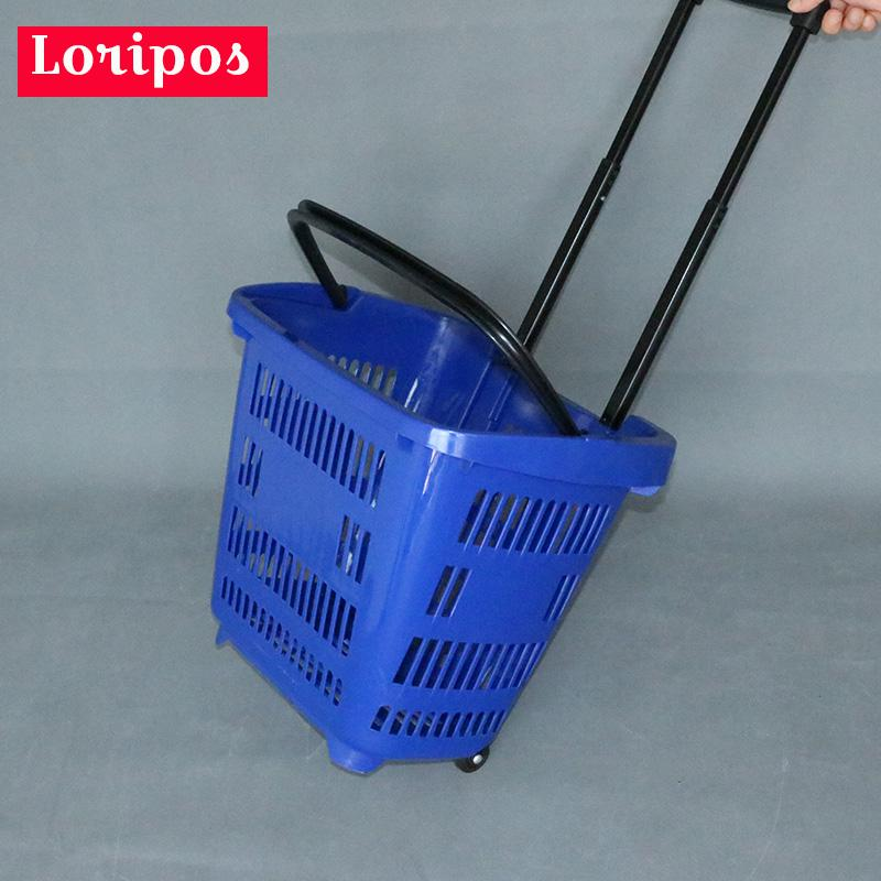 Plastic Shopping Basket With Handles Wheel Supermarket Shopping Cart Convenience Store Shopping Cart Store Storage Fixture