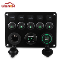 5 Gang Toggle Car Switch Panel Socket Charger 4.2A LED Voltmeter 12V Power Outlet 2.1A 2 Port Charger for Boat Marine RV Truck