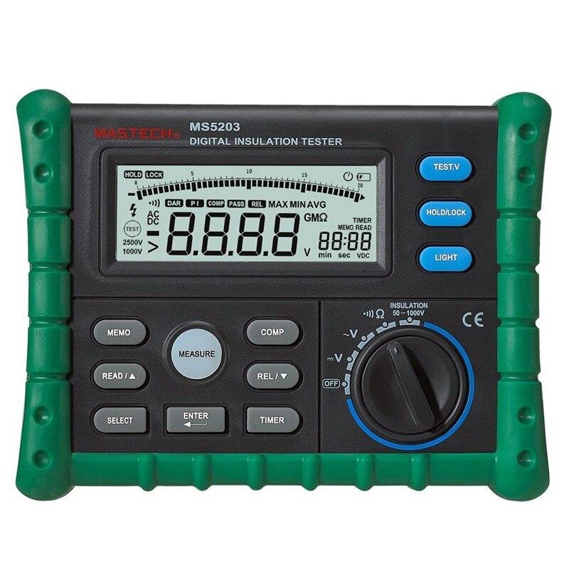 Resistência de Isolamento Mohm a 10.00 Mastech Digital Tester Multímetro Megger 0.01 Metros hv 50 V-1000 v Saída Ms5203