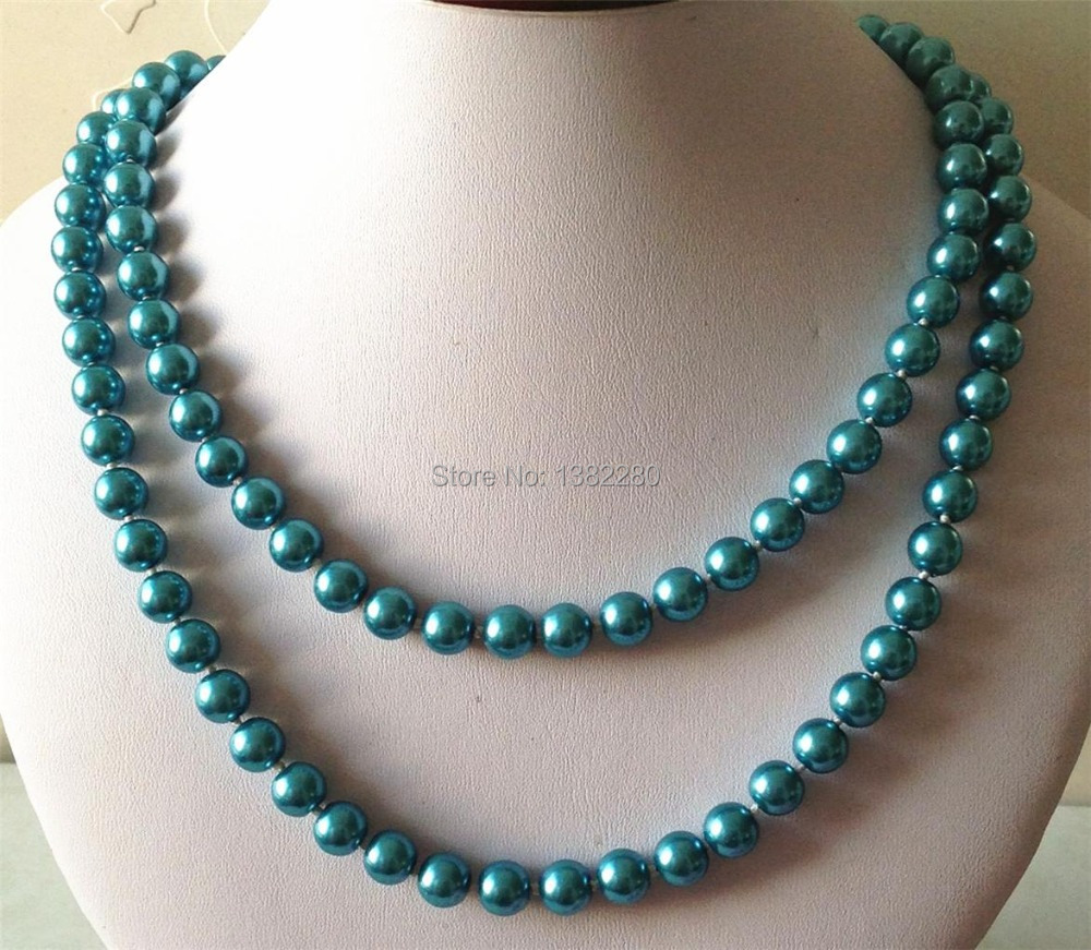 ! new Fashion Style diy 8mm Blue South Sea Shell Pearl Necklace 36