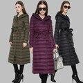 2016 moda mulheres jaqueta de inverno pato para baixo casaco de gola alta com cinto parkas para as mulheres inverno quente casacos casacos