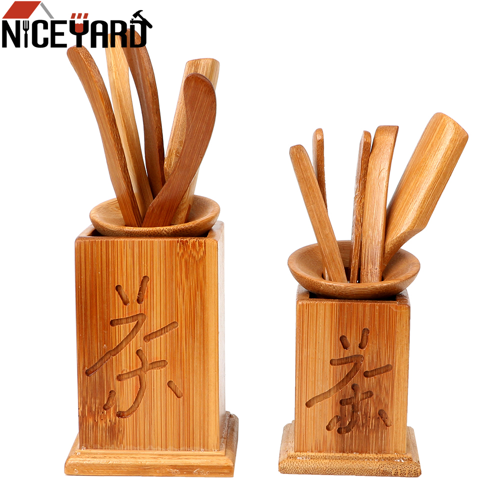 NICEYARD 7pcs/set Puer Knife Spoon Vintage Tea Ceremony Utensils Clip Strainer Kung Fu Tea Sets Chinese Bamboo Tea Tools Set