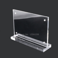 Deluxe Acrylic Sign Holder With Transparent Base And Magnet Photo Holder 130x250mm