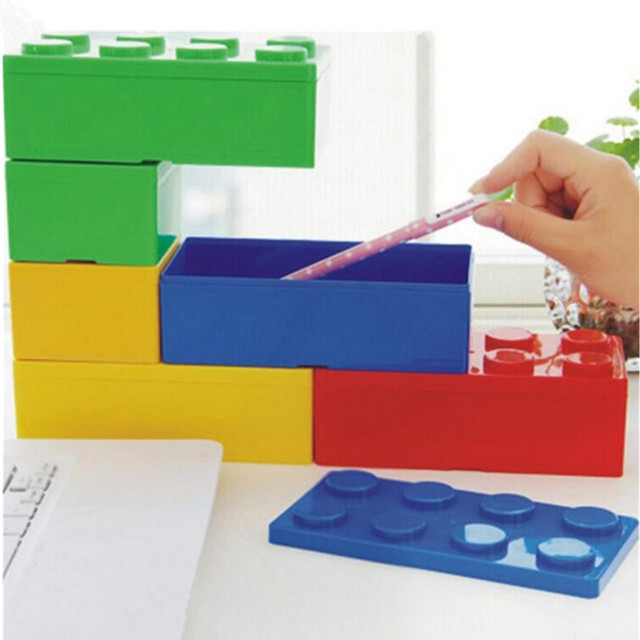 Creative Candy Colour Cute Building Blocks Storage Box Pencil Case Stack Storage Organizer Stackable Storage Trumpet Child Toy