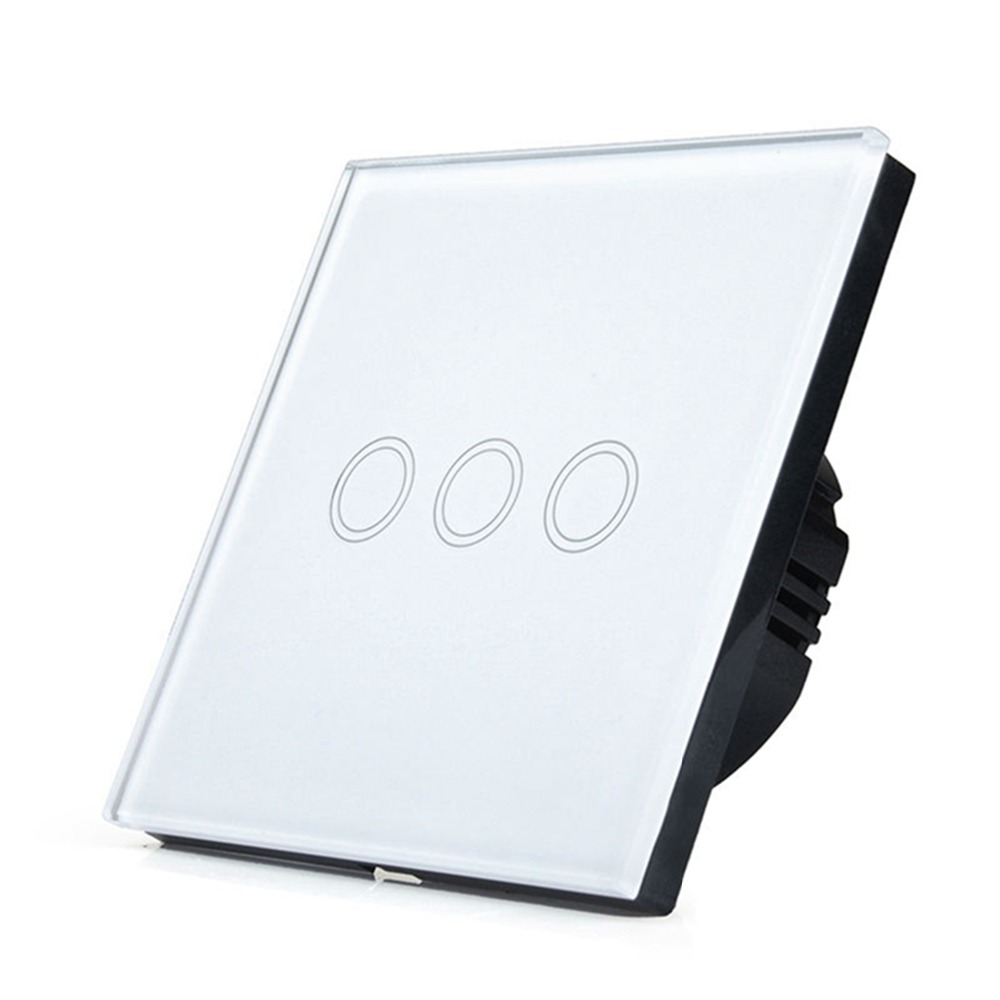 Smart Home EU Touch Switch LED Wall Light touch switch 220V 3 Gang 1 Way Waterproof Crystal Tempered Glass Panel eu us smart home remote touch switch 1 gang 1 way itead sonoff crystal glass panel touch switch touch switch wifi led backlight