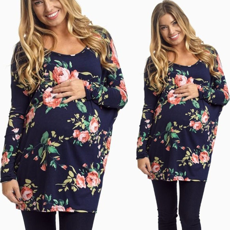 2018 New Pregnant Women Clothes Maternity Clothing Pregnant Women Floral T-Shirts Casual Solid Long Sleeve Pregnancy Tees Tops