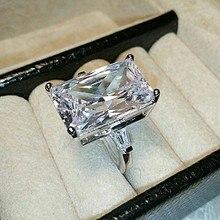 Vecalon роскошное кольцо для обещаний Настоящее серебро 925 пробы квадратное AAAAA Cz массивное обручальное кольцо кольца для женщин Свадебные ювелирные изделия