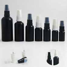12 x Travel 3.33oz 5/3oz 1oz 2/3oz 1/2oz 1/3oz 1/6oz Empty Paint Black Glass Bottle With Pump Cream Shampoo