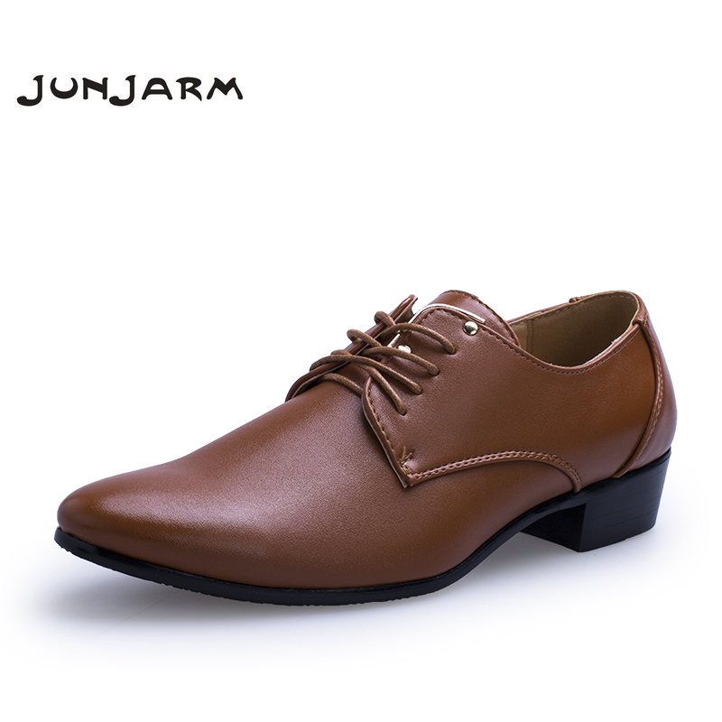 JUNJARM 2017 Men Dress Shoes Pointed Toe Leather Men ...