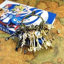 Набор ключей в виде хвоста Феи из 21 шт. золотого зодиака, косплей, ожерелье в виде сердца Lucy, подвеска+ 1 Бесплатный брелок