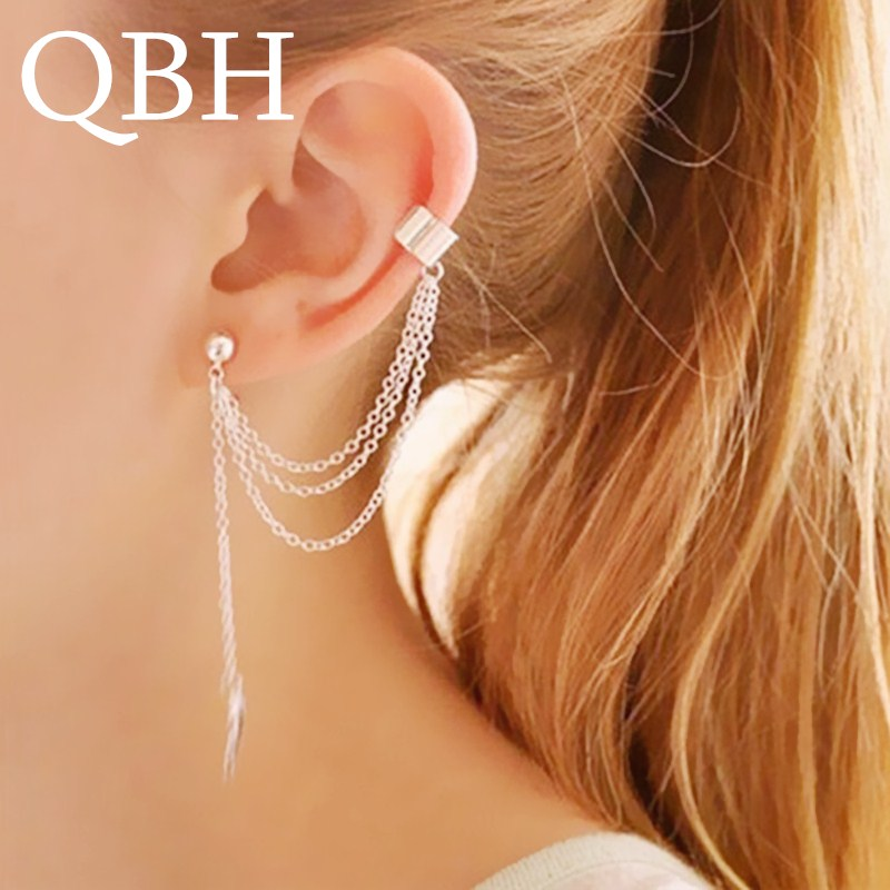 EK667 1pc Hot Punk Mujer Brinco Girl Boucle Bijoux Chain Tassel Leaf Clip Ear Cuff Earrings For Women Jewelry Boucles Pendientes