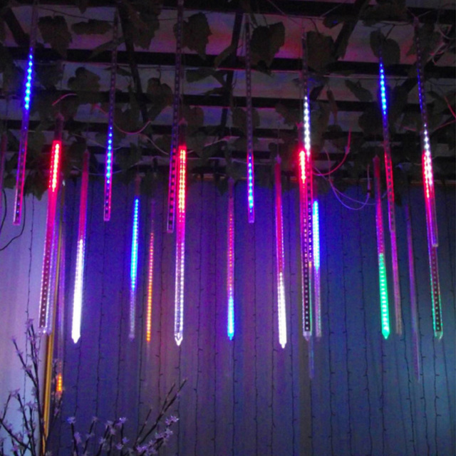 New Year 30/50cm Outdoor Meteor Shower Rain 8 Tubes LED String Lights Waterproof For Tree Christmas Wedding Party Decoration 4