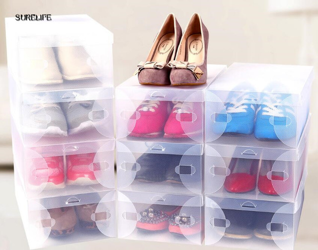 Складная прозрачная пластиковая коробка для хранения обуви для детей/женщин/мужчин, 10 шт., прозрачная Складная хорошо складдируемая коробк...