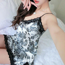 2017 Lace Embroidery Baby Doll Sexy Lingerie Women Hot Solid V-Neck Transparent Erotic Slit Sleepwear Pajamas