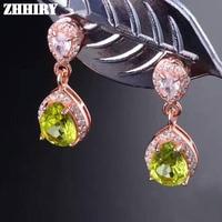 ZHHIRY Natural Peridot Earrings Genuine Gem Stone Solid 925 Sterling Silver Real Earrings Women Fine Jewelry