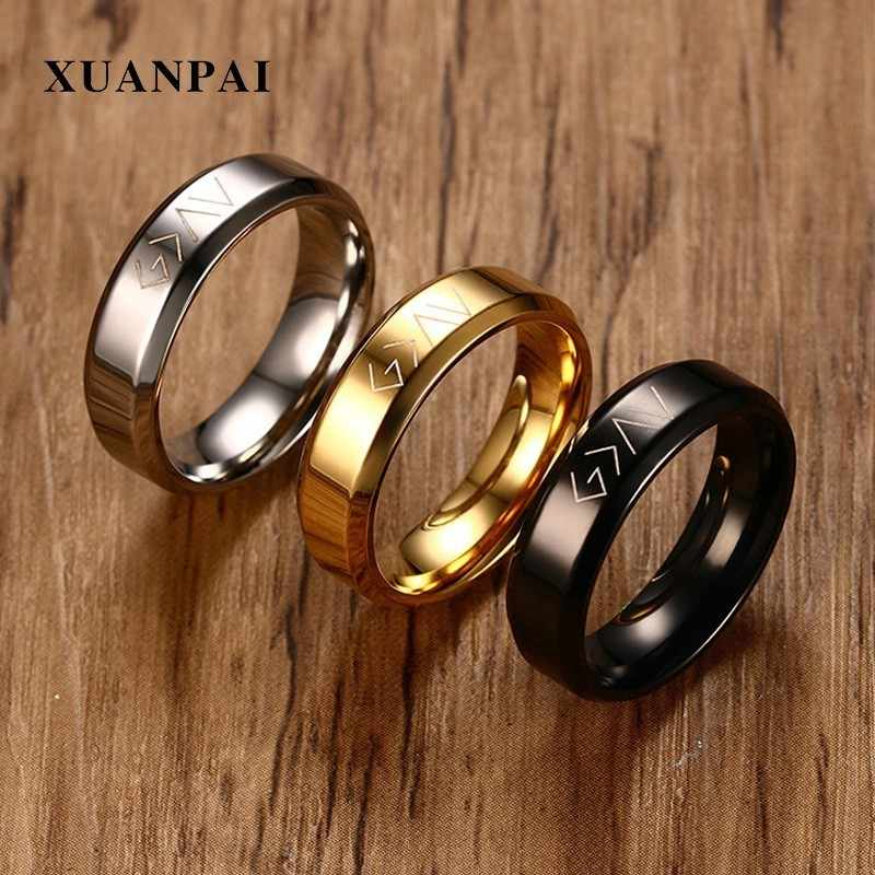 XUANPAI Christian Stainless Steel God Is Greater Than The Highs And Lows Rings for Men Casual Accessories Bijoux