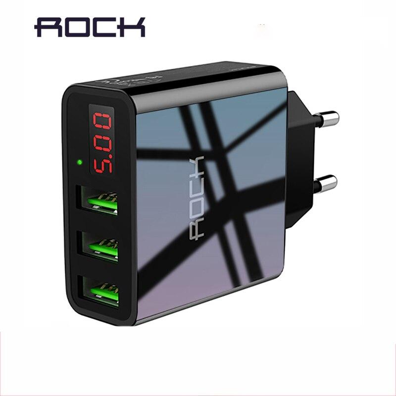 ROCK USB Ladegerät Für iphone Ladegerät Led-anzeige 3 USB 5 V 3A Schnelle Lade Wand Ladegerät Für iphone Samsung Xiaomi max 2.4A Ladung