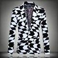 Новый Осенняя Мода Пиджак Мужчины Куртки Мужчины 2016 Одна Кнопка Платье Slim Fit Костюм Пальто Человек Плюс Размер 5XL Корейской Тенденция Случайные блейзеры