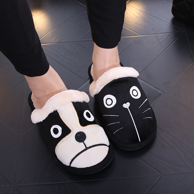 2016 sweet stripe bow fish head slippers cotton soft and comfortable open toed slippers indoor skid women slippers 2017 Winter Women Slippers Lovely Cotton Dogs And Cats Soft Home Slippers Cotton Warm Casual Indoor Slippers In 3 Colors