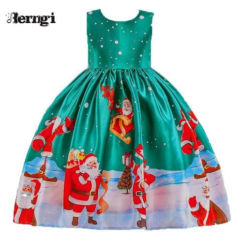Berngi/новое красивое платье с принтом для девочек; vestidos; платье принцессы Санты для маленьких девочек; рождественские наряды; одежда - Цвет: Style B
