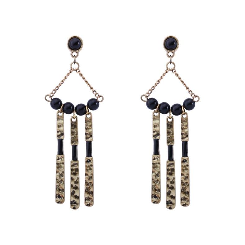 Luxury victorian jewellery black beads with metal tassel big