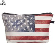 INONE 2019 Cosmetic Organizer Pencil Storage Pouch 3D Printed USA American Heritage Flags Stripes Stars Women Makeup Coin Bag(China)