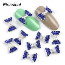 ELESSICAL 10pcs lot Blue Bowknot Shape Nail Rhinestones 3D Nail Art Decorations Jewelry Alloy Nail Charms