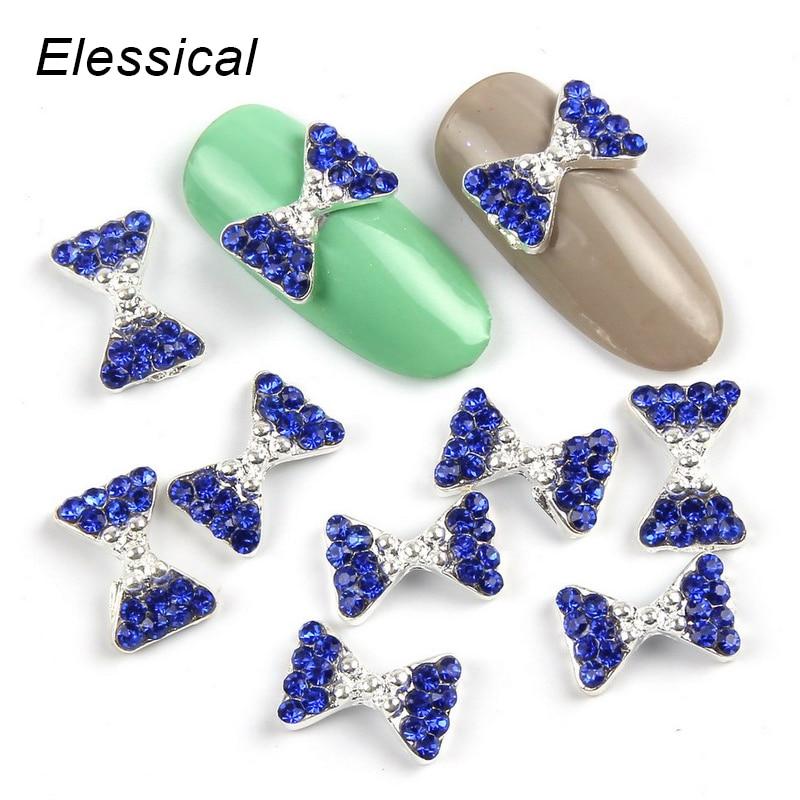 ELESSICAL 10pcs lot Blue Bowknot Shape Nail Rhinestones 3D Nail Art Decorations font b Jewelry b