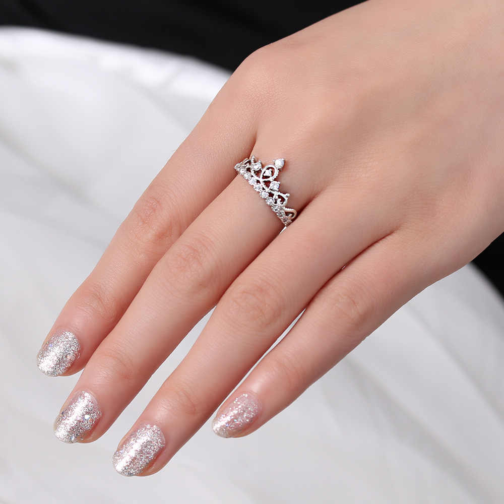 New Women Wedding Engagement Ring Jewelry Mosaic Crystal Crown Open Rings