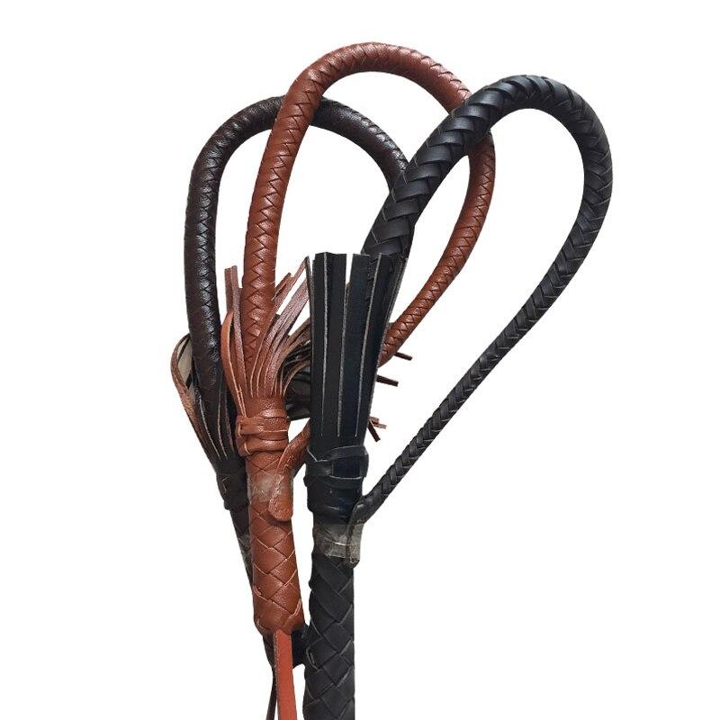 80 cm Hand Made Tressés Cravaches pour les Courses De Chevaux Véritable Bull En Cuir Équestre Cheval Fouet Cravache