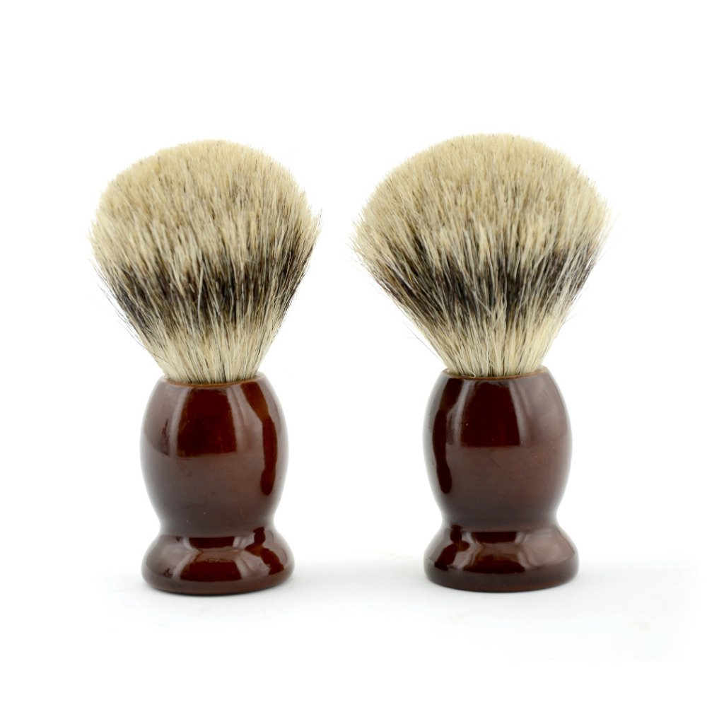 2x Fashion Brown Wood Shaving Soap Cream Brush Best Pure