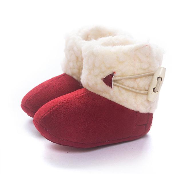 Botas De Pele de Inverno da Menina da criança Do Bebê Primeiro Caminhantes Quentes Neve Botas Prewalker Crib Shoes Velo Sólida Confortável Anti-skid T0080